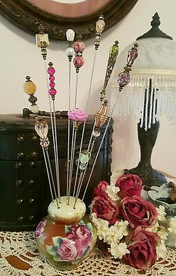 Vintage Inspired Victorian Hat Pins & Free Antique Pin Holder Mixed Collection
