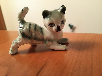 Vintage Miniature Green Striped Porcelain Cat Figurine Hand Painted