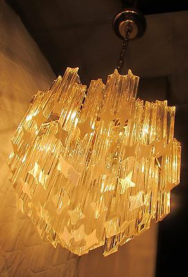 Vintage Murano Italy Sticker Tiered Chandelier 87 Crystal 4 Sided Rods Venini