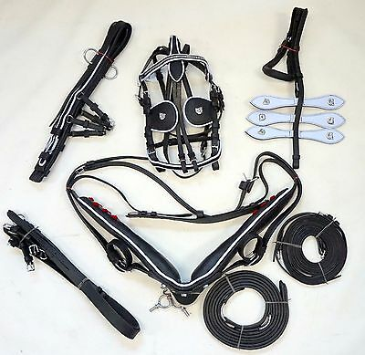 NEW! Pony Size Leather Driving Show Harness Set with White Trim