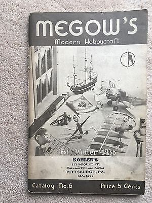 MEGOWS VINTAGE HOBBY CATALOG - 1938 - Airplane Model Boat Train Railroad 98p