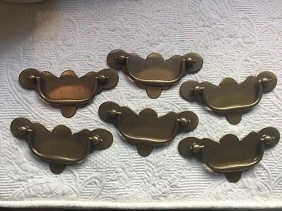 "Lot of 6 Vintage Solid Brass Drawer Pull Unusual Batwing  4 3/8""   3"" Hole Dist."