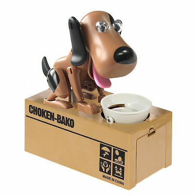 Robotic Hungry Dog Money Box Mechanical Coins Pence Piggy Bank Puppy Kids Favour