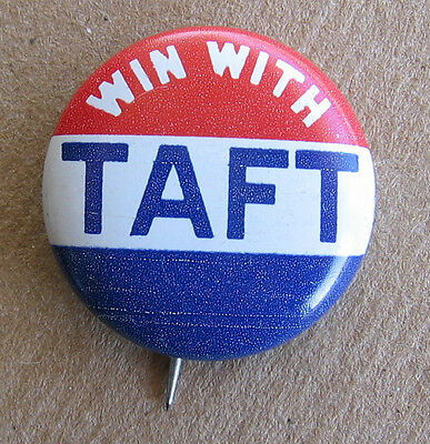 Vintage Win With William H Taft Political Campaign Pin Pinback Button SHARP!
