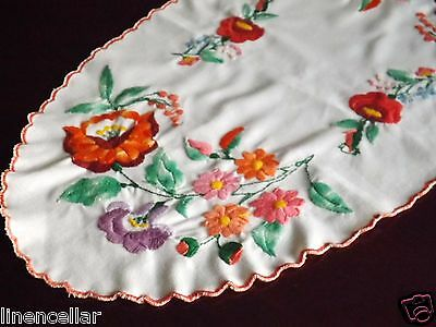 Vintage Table Runner Hungarian Embroidered Colorful Flowers Hand Made 22x12""