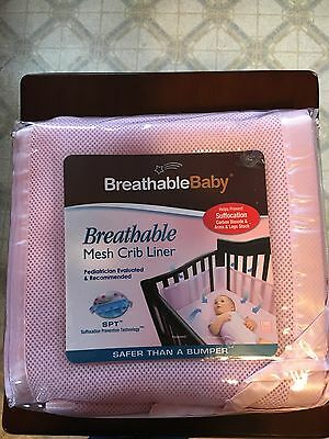 Baby Crib Breathable Baby Mesh Crib Liner new unopened, pink net
