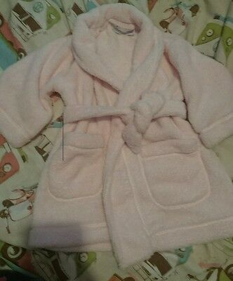 girls age 12-18m pink fluffy little white company designer dressing gown robe