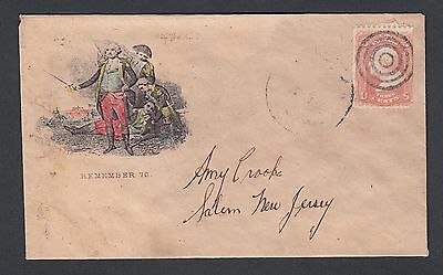 """USA 1860's """"REMEMBER 76"""" PATRIOTIC GEORGE WASHINGTON COVER TO SALEM NEW JERSEY"""