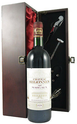 1987 Chateau Segonnes Margaux in silk lined gift box with four wine accessories