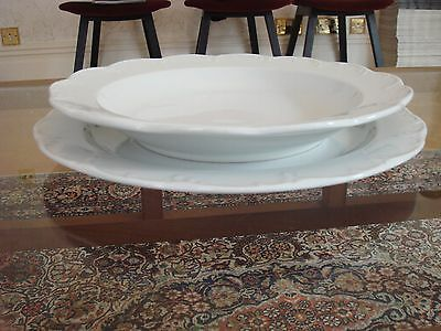 Classic Rose Rosenthal Group Rare Vintage White Porcelain Bowl and Dinner Plate