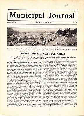 1915 Article: Akron OH Sewage Disposal Plant Details and Construction