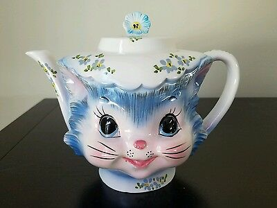 Whimsical Lefton Miss Priss 4 Cup Teapot 1516 Kitty Cat Kitten Blue Floral Cap