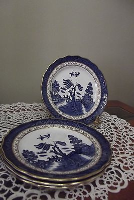 Booths Real Old Willow A8025 Dessert/Pie Plates (4) Gold Trim  Diameter 6.75 in.