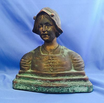 Antique Solid Bronze Bust Of Young Woman With Foundry Mark Stamp
