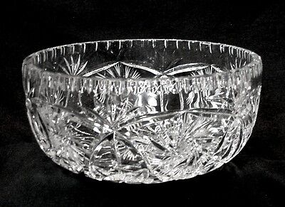 "Tutbury Crystal Cut Lead Glass 8"" Bowl -- Pinwheels, Stars & Fans - Excellent!"