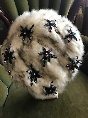 Vintage Christian Dior Fur Hat With Beading