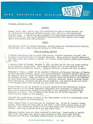1957 Oct. 17 AVRO ARROW Engineering Division ORIGINAL DAILY BRIEFING Document