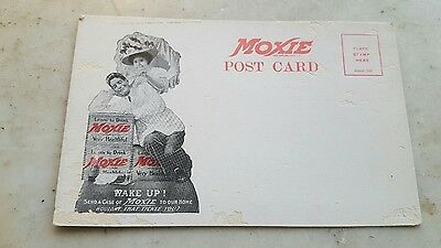 Antique Moxie Postcard Wake Up! Soda Advertising General Store