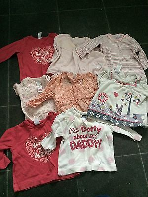 Bundle Of 8 Baby Girls Tops Age 0-3 Months
