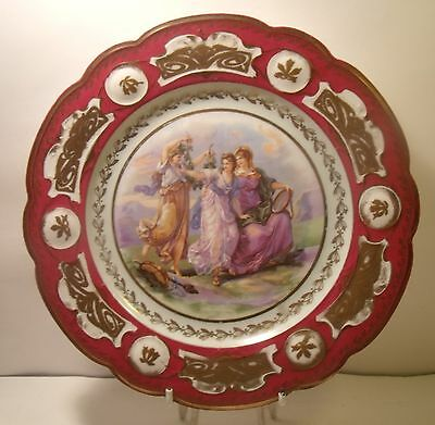 """8.5"""" Continental Hand Painted Gilded Cabinet Plate"""