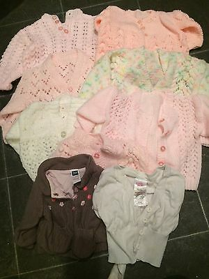 Bundle Of 9 Baby Girl Cardigans 0-3 Months
