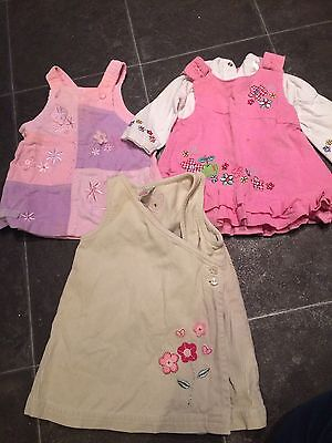 Bundle Of 3 Baby Girls Pinafore Dresses 0-3 Months