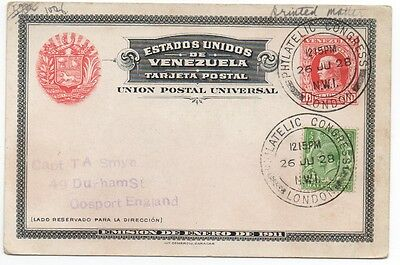 1911 Venezuela Postcard Cancelled at the Philatelic Congress London in 1928