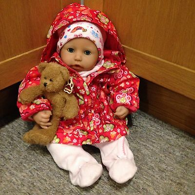 Beautiful Zapf Creations Baby Doll With New Clothes And Teddy Bear. Interactive.