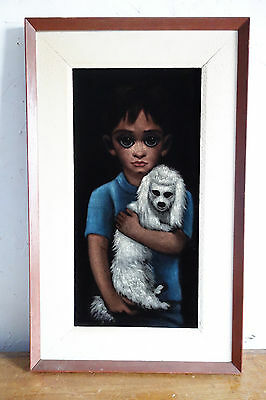 Original Painting GHOST DOG Big Eyes Painting HAUNTING Keane Pity Puppy 31x19