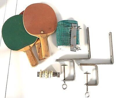 Vintage Lot Of Table Tennis Ping Pong Equipment Paddles Net Score Counter Estate