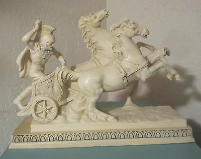 A Santini Figural sculpture Roman Gladiator with 2 Horse Chariot Italy