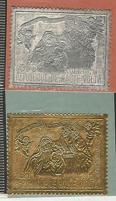 Burkina Faso: Scott C86 and C87,silver and gold stamp, mint good quality...BK04