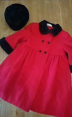 Girls age 18-24 months coat wool with matching hat marks and spenser stunning