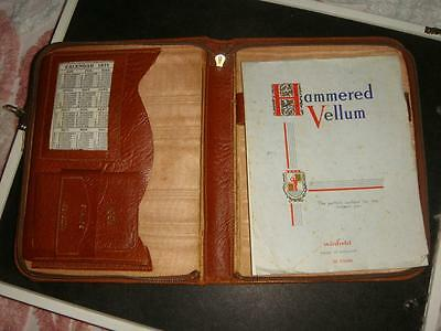 Vintage Brown Leather Zipped Writing Case With Calendar For 1966-1971 See14Pics