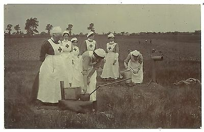 Suffolk postcard Woodbridge Ipswich   Red Cross Nurses cooking military camp ?