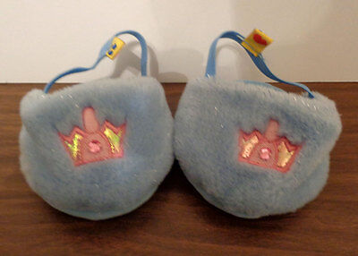 Build-A-Bear Light Blue Slippers with Jeweled Pink Crown
