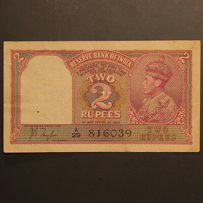 India - Reserve Bank 2 Rupees ND(1937) P#17a Banknote ChEF
