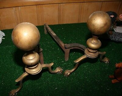 Antique Claw Foot Brass Ball Iron Andirons Fireplace Log Holder Cannonball top