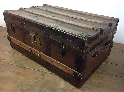 antique Banded trunk wooden chest furniture old storage treasure Blanket box