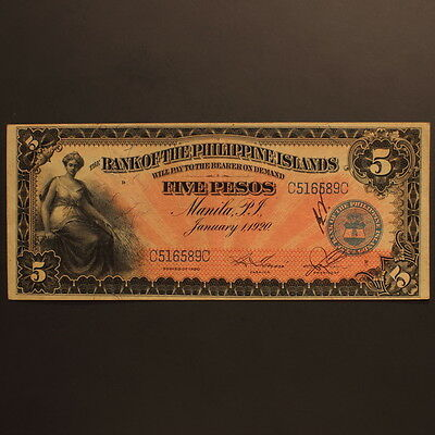Philippines - Bank of the Philippine Islands 5 Pesos 1920 P#13 Banknote AU