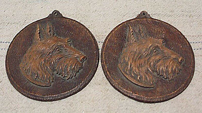 2 Ornawood 4 Inch SCOTTIE DOG Plaques Vintage Mid Century1940's