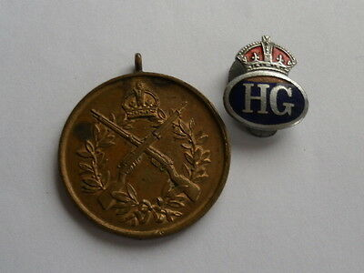Homeguard Marksmans Medal With Enamel Lapel Badge, 4Th Cheshire, Home Front Ww2