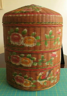 Antique Chinese Wedding basket, floral painted, 3 layers with lid, rattan