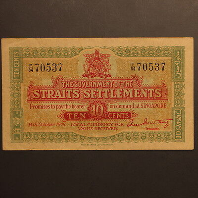 Straits Settlements 10 Cents 1919 P#8b Banknote ChVF