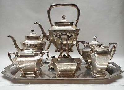 7pc Wallace STERLING SILVER Engraved SOMERSET Tea Set w/ Sterling Tray & Kettle