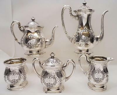 Beautiful 5pc Sterling Silver Tea Set  MUECK-CARY Co New York NY  - Hand Chased