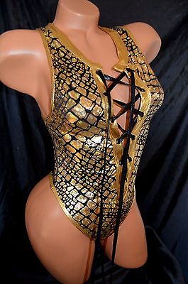 Exotic Dancer Stripper Golden Lace up One Piece Thong Back Romper ~ Dancewear
