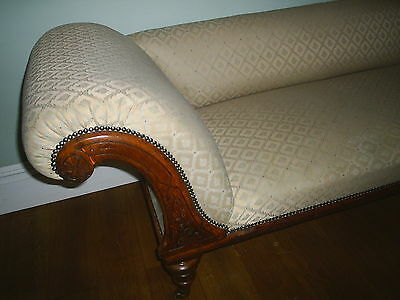 Original Chaise Lounge Victorian Oak Day Bed Sofa Chair Brocade Cover