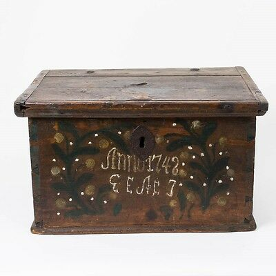 Antique Wood Dove Tail Chest Trunk Hand Painted Dutch 'Anno 1742' Hinged Lid 23""