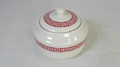 Vintage 1924 Iroquois Restaurant Ware Sugar Bowl with Lid Red on White 1 of 2